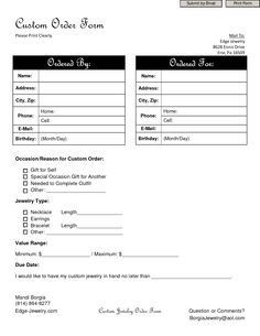 This Printable Order Form Is Formatted With Room For Shipping
