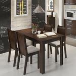 Conjunto Para Sala De Jantar Mesa Com 4 Cadeiras Rosie Madesa Tabaco/Suede Perola 399,90