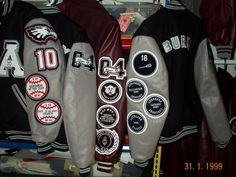 An assortment of set-in sleeve letterman jackets created by customchenillepatches.com