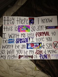 Candy Poster To Ask Someone To Winter Formal.