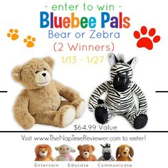 The NapTime Reviewer: Bluebee Pals Giveaway (2 Winners)