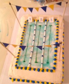 Swim Team Pool Cake.  Ivonne this would be great for Bella.