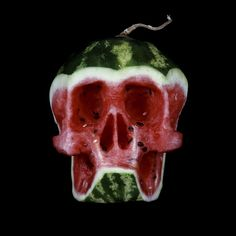 Russian artist Dimitri Tsykalov created a wonderful series of skull sculptures out of fruits and vegetables between 2005 and He has much more food-themed sculpture work on his site. via koiko. L'art Du Fruit, Fruit Art, Fruit And Veg, Fresh Fruit, Fruit Sculptures, Food Sculpture, Watermelon Art, Watermelon Carving, Carved Watermelon