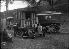 Gypsy Caravan, {This image comes from a collection of glass slides of fairground… Gypsy Caravan, Gypsy Wagon, Rare Photos, Old Photos, Discovery Museum, Gypsy Living, Vintage Gypsy, Vintage Circus, Gypsy Life