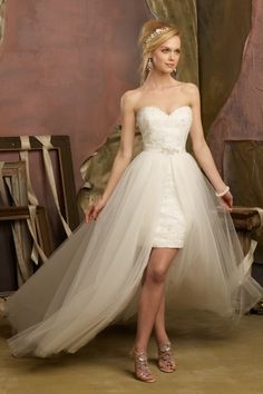 2013 Wedding Dresses Sheath/Column Sweetheart Short/Mini 2 Pieces Gowns Lace Tulle