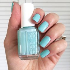 """essie: """" This eye catching light blue with a hint of spring mint green 'blossom dandy' is polished perfection. Cute Nail Colors, Essie Nail Colors, Nail Polish Colors, Light Blue Nails, Nail Care Tips, Claw Nails, Nail Polish Art, Super Nails, Nail Manicure"""