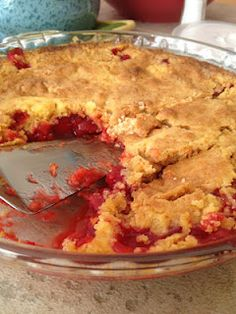 Cherry Dump Cake - Put together in 5 minutes.  Unexpected guests?  Keep these few ingredients on hand.