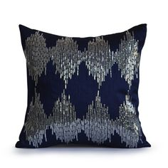 Throw Pillow Covers -Decorative Pillows -Sequin Pillow -Blue Throw... (1,775 INR) via Polyvore featuring home, home decor, throw pillows, silver home accessories, silver accent pillows, blue home decor, ikat home decor and silver throw pillows