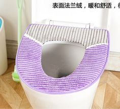 Bathroom Fluffy Plush Winter Warmer Toilet Seat Cover Case Pad Mat Rainbow Color