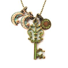 Skeleton Key and Crescent Moon Charms Enamel Necklace on Brass $10 #keys #antiques #charms #necklaces #chic #jewelry