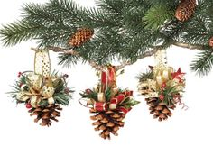 PINECONE ORNAMENTS | Pine Cone Crafts - Ideas for Pinecone Christmas Decorations
