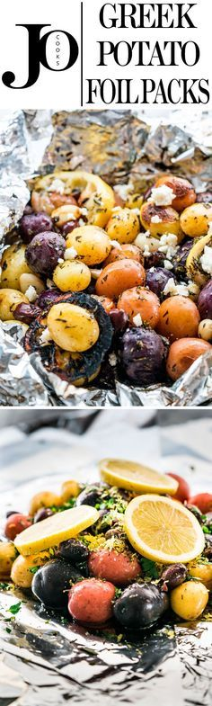 These Greek potato foil packs are incredibly delicious Greek style potatoes with fresh rosemary and oregano, lots of lemon zest and lemon juice, olives and garlic then grilled to perfection in a foil pack.