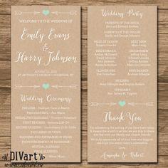 Rustic Wedding Program, Ceremony Program - PRINTABLE files - rustic wedding, garden wedding, arrows, heart, kraft paper and mint - Emily