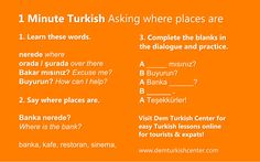 1 Minute Turkish Lessons for expats and tourists: Asking where places are in Turkish. #turkish #turkishlanguage #learnturkish #turkishforexpats #turkishfortourists #languages #languagelearning