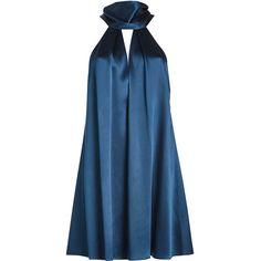 Galvan Silk Sash Neck Dress (2 160 PLN) ❤ liked on Polyvore featuring dresses, short dresses, blue, vestidos, silk mini dress, blue dress, blue silk dress and blue cocktail dress