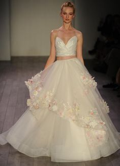 Hayley Paige Fall 2016 two piece wedding dress with floral appliqués | https://www.theknot.com/content/hayley-paige-wedding-dresses-bridal-fashion-week-fall-2016