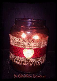 Primitive valentine wrap I made for jars or candles by Ye olde crow primitives