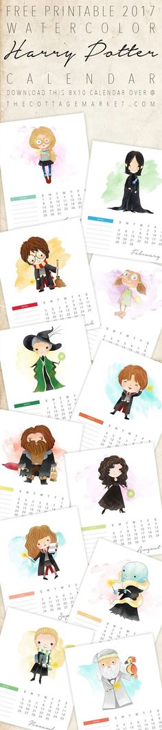 Free Printable 2017 Watercolor Harry Potter Calendar