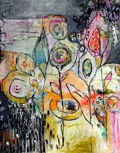 floracolor....Large Original Abstract painting by by annielockhart, $1200.00