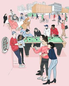 Clare Mallison illustrated the cover of The Financial Times latest London Culture guide. Featuring posh pub games, postwar cafe society and art studios in Financial Times, Art Studios, Illustrators, Black And White, Drawings, Anna, Cute, Illustrations, Blanco Y Negro