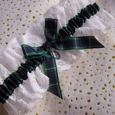 Campbell of Argyll Tartan Wedding Garter with white lace and crystal