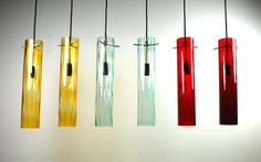 6 Glass Pendant Lamps, Italy, 1950's COUNTRY: Italy DATE OF MANUFACTURE: cira 1955
