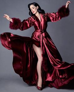 "Dita Von Teese on Instagram: ""Back in stock and ready to ship, my ultra #glamorous bordeaux maribou dressing gown by @catherinedlish, now available in up to 3X. Link in…"""