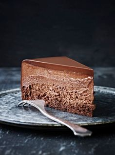 Chocolate Mouuse Cake with Chocolate Ganache. Note - Make only one layer of cake and top with mousse and ganache. by corrine
