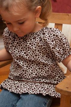 Toddler Peasant Blouse Brown Polka Dots Size 2