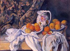 Paul Cezanne Still Life With Curtain And Flowered Pitcher Oil Painting Reproductions for sale Paul Cezanne Paintings, Renoir Paintings, Great Paintings, Colorful Paintings, Oil Paintings, Pablo Picasso, Matisse, Painting Frames, Painting Prints