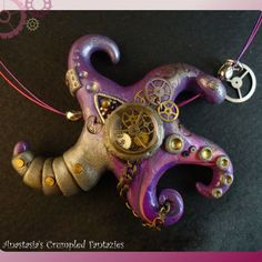 OOAK Steampunk purple starfish necklace by CrumpledFantazies Polymer Clay Steampunk, Steampunk Crafts, Polymer Clay Tools, Fimo Clay, Polymer Clay Projects, Clay Beads, Polymer Clay Jewelry, Steampunk Patterns, Clay Fish