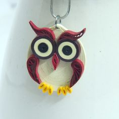 Maroon Owl Pendant Handmade Eco Friendly Modern Paper Quilled Artisan | Honey's Quilling