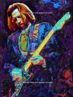 ERIC CLAPTON #3 / 40x30 GALLERY WRAP CANVAS GICLEE- READY TO HANG / by Eisner