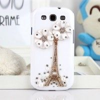 Fashion Eiffel Tower and Flowers Design Hand Made Case for Samsung Galaxy S III