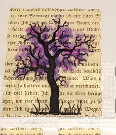 """""""Baum und alte Buchseiten"""", 6,5 x 8,5 cm"""