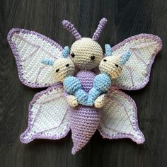 Butterfly Bree and Caterpillar Calin made by Larissa G - crochet pattern by Zabbez