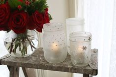 #DIY frosted mason jar votives using Elmer's glue and paint. Easy and elegant winter decor for the home. #winterdecor #masonjars