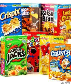 For Kellogg's, the brands include Corn Flakes, POPS, Froot Loops, Frosted Flakes and Special K. They are also the manufacturer of MorningStar Farms products and Keebler. General Mills boasts Lucky Charms, Cheerios, Chex and Kix as well as the Pillsbury and Betty Crocker brands. There are plenty more, these are just examples for both companies.