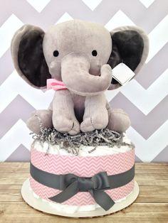 One Tier Chevron Elephant Baby Diaper Cake on Etsy, $35.00