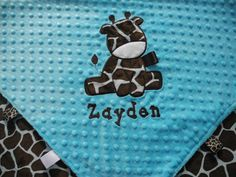 Personalized Baby Blanket 30x35 Turquoise by TheCherryCheetahs, $50.00