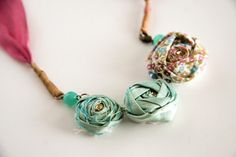 Rosette fabric necklace