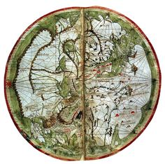 "artemisdreaming: "" Mappa Mundi from Marino Sanuto's Liber secretorum (oriented with East at the top), circa British Library Pietro Vesconte See High-res . From Wiki: ""Pietro Vesconte (fl. was a Genoese cartographer and geographer. Vintage Maps, Antique Maps, Early World Maps, Map Globe, Old Maps, Historical Maps, 14th Century, British Library, Oeuvre D'art"