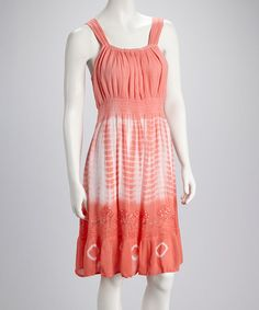 Take a look at this Coral Tie-Dye Embroidered Dress by Raya Sun on #zulily today! $16.99, regular 25.00