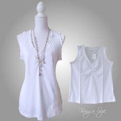 Top / Shirt / Tunika / Bluse - Ärmellos - Rüschen - 100% Cotton  Gr.40 - 44 weiß