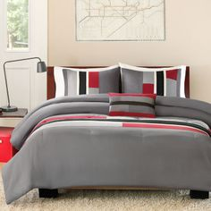 """<p>Take the colorblock trend to your room with this modern comforter set featuring large blocks of squares, rectangles and stripes.</p><div style=""""page-break-after: always"""