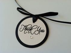 12 Black and Ivory Circle Thank You Tag with Rhinestone for Wedding, Bridal or Baby Shower Favor Tag.
