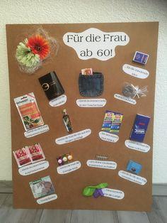 Geschenktafel zum 60. Geburtstag #spass #60er #geschenkidee #frau