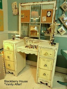 Vintage marriage - The blogger removed the original mirror from this vanity and joined it up with an old, chippy 6-pane window frame - makes me think of lots of possibilities ...  from blackberryhouse blog