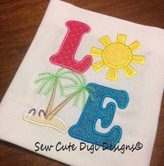 Love Beach Applique by SewCuteDigiDesigns on Etsy, $5.00