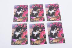 Vintage black and white kitten playing in pink flowers cards - Set of Six - Scrap Booking Ephemera Card Making by ThePinkRoom